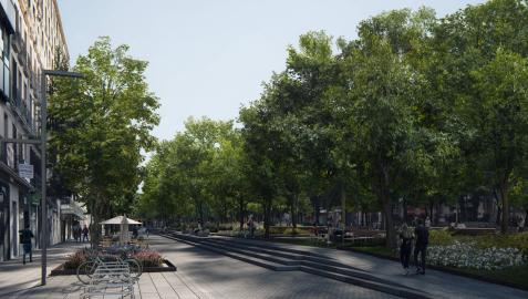 Recreación de la reurbanización del paseo de Sarasate.
