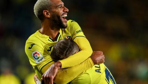 Alberto Moreno, jugador del Villarreal, celebra uno de los goles del partido.