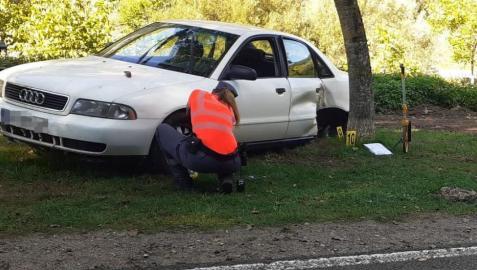 El vehículo accidentado en Abárzuza