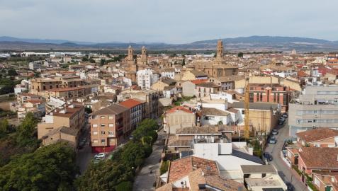 Imagen aérea del casco urbano de Corella, la segunda población de la Ribera en cuanto a número de habitantes (8.100)