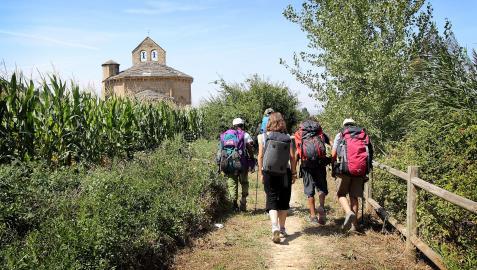 Un grupo de peregrinos se acerca a la iglesia de Santa María de Eunate