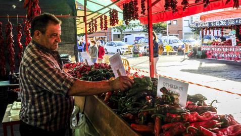 Hasta seis variedades de pimiento se pueden encontrar estos días en los puestos del mercado de Puente la Reina