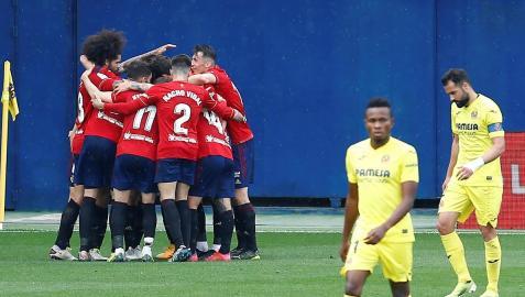 Los rojilllos celebran un gol en el partido de abril en el estadio de La Cerámica