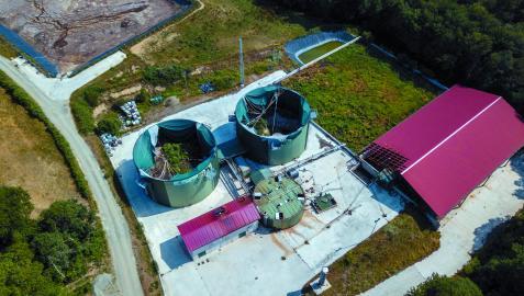Panorámica de la planta de biogás de Ultzama
