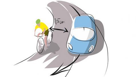 Ilustración de la DGT con un adelantamiento a un ciclista
