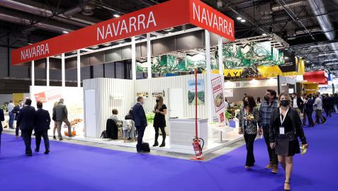Stand de Navarra en la Feria Internacional del Sector de Frutas y Hortalizas Fruit Attraction 2021 que se celebra en el recinto Ferial Ifema de Madrid