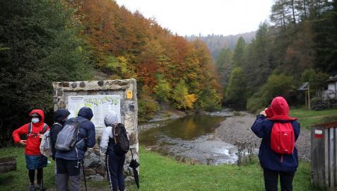 Turistas en el acceso a la Selva de Irati por Ochagavía, en las inmediaciones de las Casas de Irati el pasado otoño.