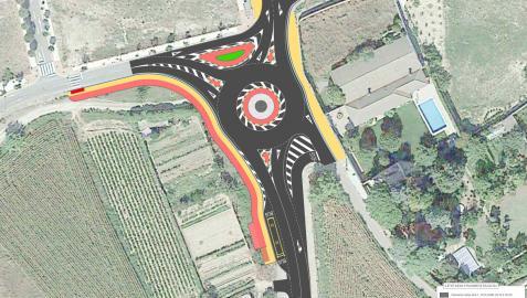 Plano del proyecto de construcción de la rotonda y una nueva parada de autobús en Murchante