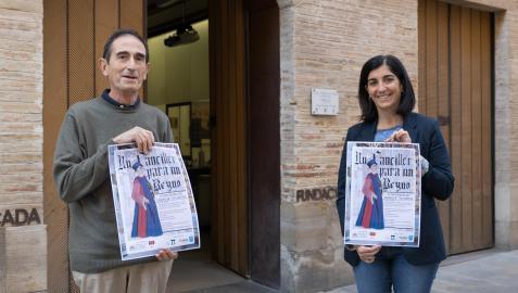 Pedro Miguel Sánchez y Merche Añón, con el cartel de las jornadas