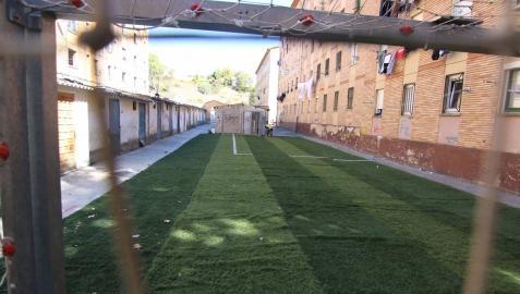 El pequeño campo de fútbol ya instalado en este barrio de Estella