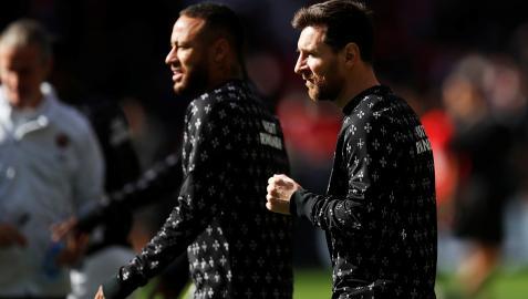 Leo Messi junto a Neymar en un entrenamiento anterior del PSG