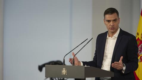 Pedro Sánchez, durante su comparecencia de este sábado en Moncloa