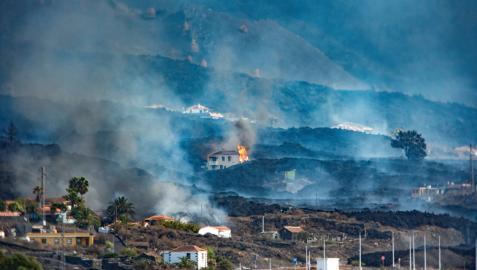 Colada liberada por el derrumbe del flanco norte del volcán de Cumbre Vieja