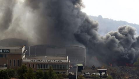 La zona industrial arrasada este lunes por la colada de lava