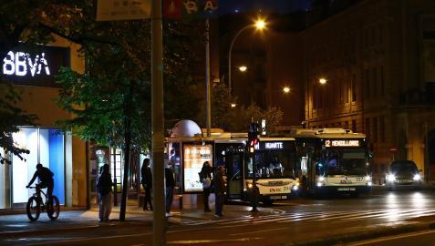 Villavesas, el pasado jueves por la noche en el centro de Pamplona