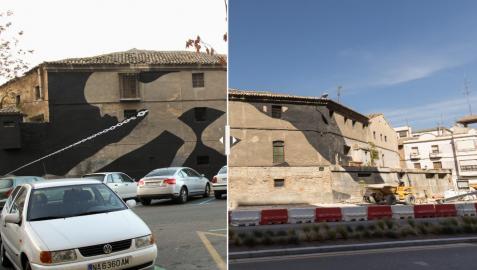 Antes y después de las obras en el antiguo edificio de sementales de Tudela