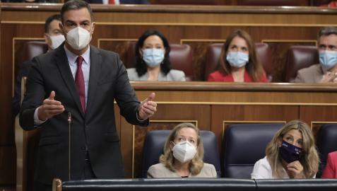 El presidente del Gobierno, Pedro Sánchez, interviene en la sesión de control al Gobierno en el Congreso de los Diputados