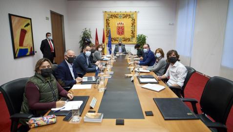 Los portavoces durante la Mesa del Parlamento de Navarra de este miércoles, 13 de octubre