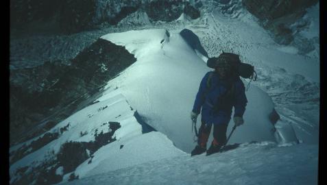 Fermín Izco, en 1992 durante el ascenso al Lempo-Gan (7.083m)