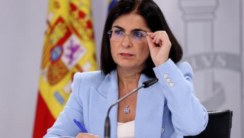 La ministra Carolina Darias, en la rueda de prensa tras la reunión del Consejo Interterritorial del Sistema Nacional de Salud este miércoles