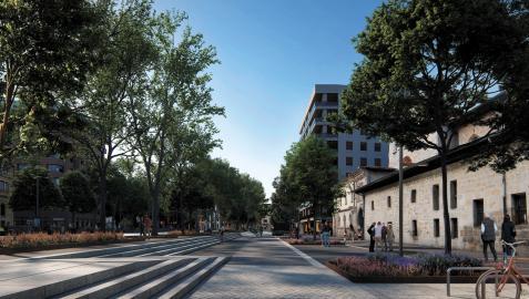 Recreación del proyecto municipal, en el que se ven las gradas escalonadas y la diferencia de cota