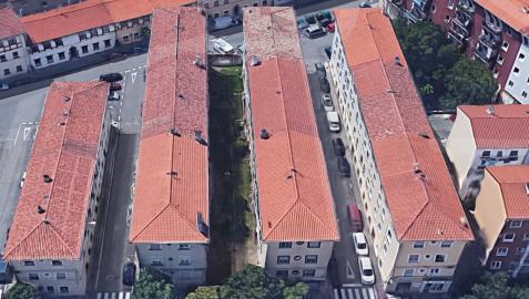 Vista aérea de la Colonia San Miguel en la Txantrea